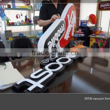 Customized vacuum formed plastic car top roof sign