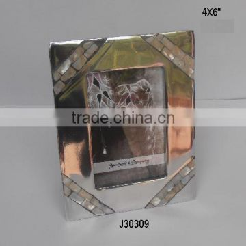 Aluminium Photo Frame with Mirror polish and four corner MOP mosaic