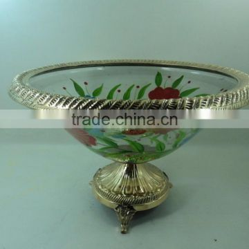 gold plated hand painting antique centerpiece bowl
