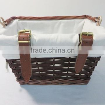 Antique bicycle basket with handle and custom logo