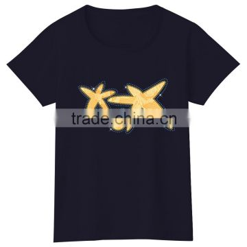 2016 custom 100% cotton sublimation hot fix women t shirt wholesale cheap