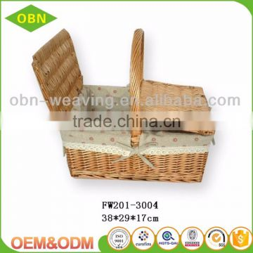 Custom natural wicker basket cheap picnic basket and Gift basket with handle