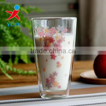 Clear Flower Double Layer Glass Milk Cup with Glass Lid