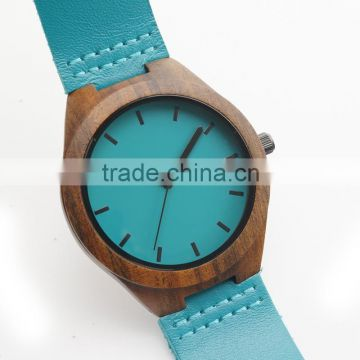 Newest ebony wood wristwatches blue causal watch genuine leather wooden fasion watches for men women best gifts with gift box