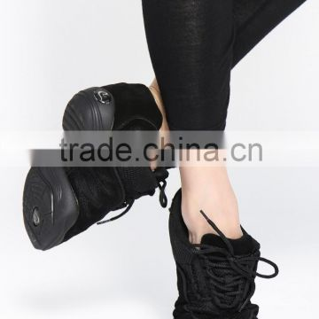 D004732 Sneakers black color lace up dance sneakers shoes 2016 woman