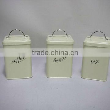 TEA COFFEE SUGAR SET OF 3 STORAGE CONTAINERS CANISTERS