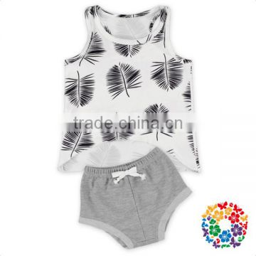 Latest Design Summer Tank Top And Bloomer Clothes Set Grey Leaves Cute Boys Outfits