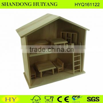 FSC natural unfinished wooden foll house wholesale