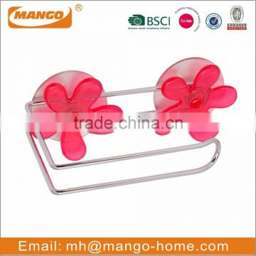 Flower Decorative Suction Chrome Plating Wire Bathroom Metal Hook