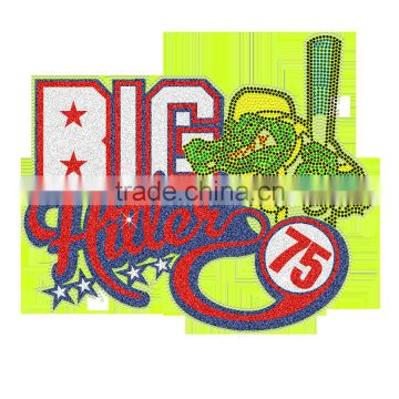 BIG Number 75 Crocodile Hot Fix Glitter with Bling Heat Tranfer Printing Designs
