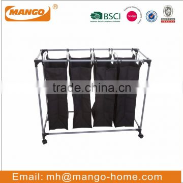 Four Compartments Nylon Laundry Hamper Trolley