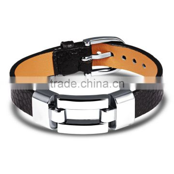 Leather Charm Bracelets For Women Man Personality Black/Red Color Stainless Steel Women Men Jewelry Bracelet Gift