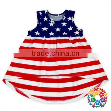 Red white blue stars US 4th of july girls dress little girls baby cotton dresses