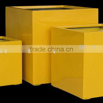 Yellow Glossy Fiberstone pots, polystone planter, fiberglass with lightweight and durable for flower and garden pots
