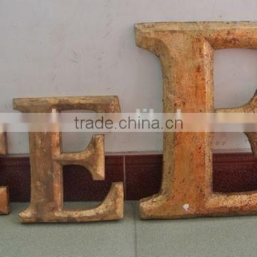 Antique hand carving glod small wood letters
