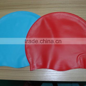 2015 simple,pure customized logo printed waterproof silicone swim caps