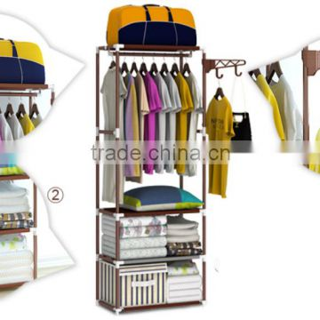 Stainless steel movable shop clothes hanger stand rack