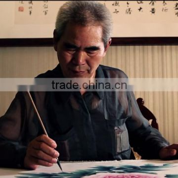 2016 China handmade watercolor silk base Chinese ink painting for home decoration