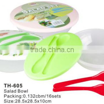 Plastic Kitchen Tools Reusable Salad Bowl With Lid And Spoon