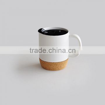 Can Shape Cork Bottom Solid Color Coffee Mug with Lid
