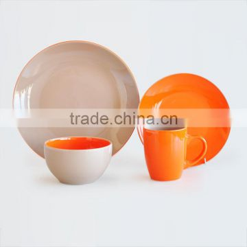 16pcs ceramic dinnerware set with two tone solid color