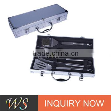 high class and easy portalbe wholesale stainless teel bbq tool set with 4pcs tools