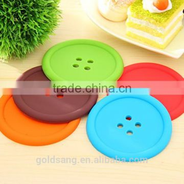 100% food grade hot sale durable heat resistant button shaped silicone cup mat