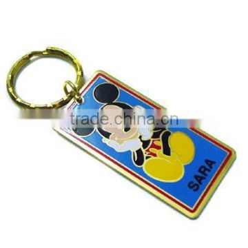 Square shape of zinc alloy keychain with aluminum printing