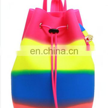 Hot sale En-friendly Candy colors backpack silicon rubber kids school bag