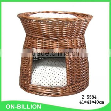 Antique hand woven wicker house for cat