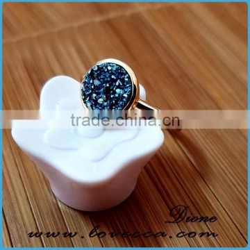 Factory hot sale fancy Quartz Rings Natural Agate druzy ring gemstone