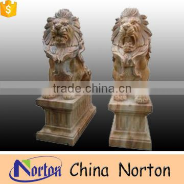 Hand carved stone howling lions with base in front of house NTBM-L010Y