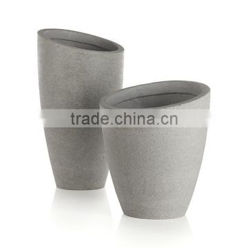 Tall Round polystone, fiberstone planter with durable and lightweight pots