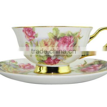 200ML Product Flower Pattern Coffee Mug with Saucer Set