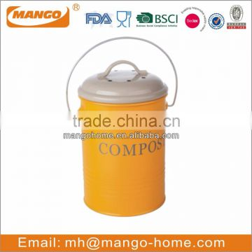 Colorful Powder Coating PP inner Metal Kitchen Compost Bin