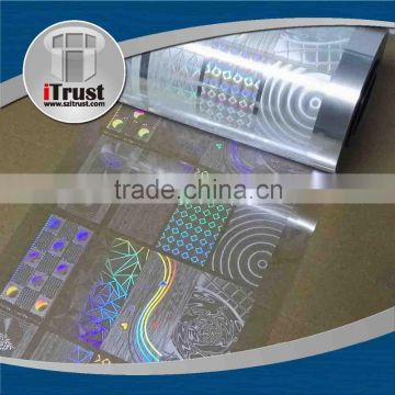 Self adhesive transparent holographic reflective window film