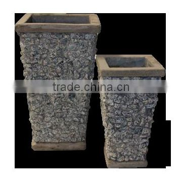 Lightcement Concrete pots and planters with slate for flower and garden