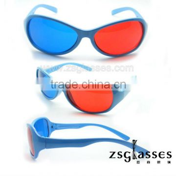 Cheap Promotion kids active red/cyan/blue 3d glass/3d glasses/3d eyewear plastic polarized polarizer film Factory Custom logo