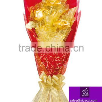 24k 25cm gold foil rose flower best Valentine's Wedding Mother days gift with gift box