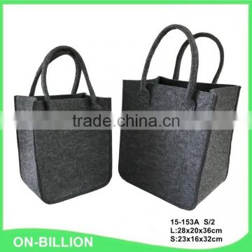 Customized 2pcs cheap handle foldable felt shopping bag