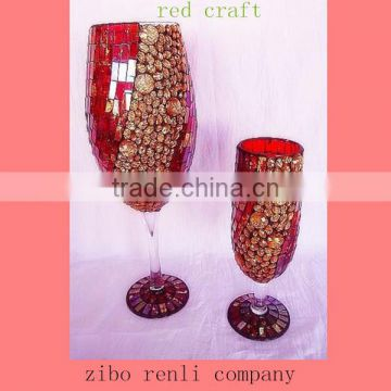 Red with Golden Beads Pretty Mosaic Tall Goblet Vases Wedding Table Decoration