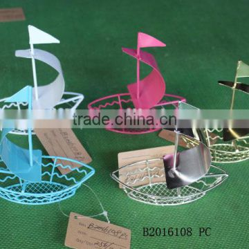 Iron boat shape crafts with sails for decoration