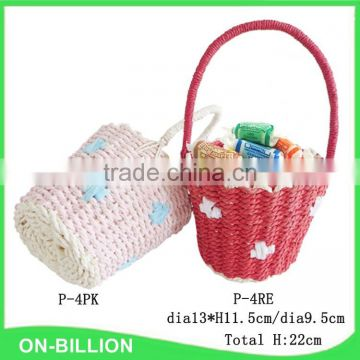 Handmade woven red pink rope easter egg basket