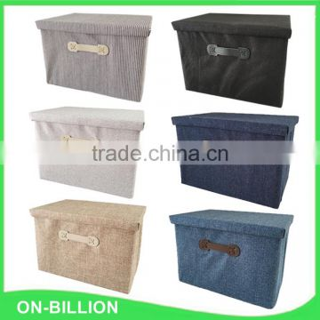 Collapsible non woven storage box foldable with lid