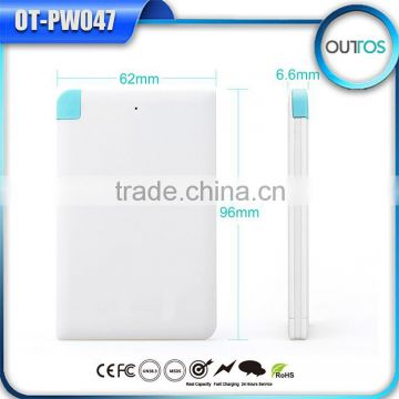 Hot Wew Products for 2015 Credit Card Power Bank External Battery for Phone with Iphone Adaptor
