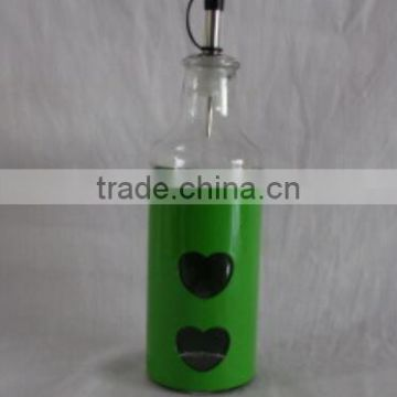 colored metal coated olive oil and salad oil dispenser with dispenser