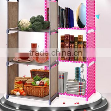 Modern DIY easy to assembly fabric Kids children bookshelf