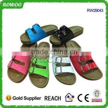 Hot Sale Comfortable flat plastic beach women slipper with footbed