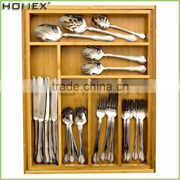 8 Compartment Extensible Drawer Organizer Bamboo Cutlery Holder/Homex_FSC/BSCI Factory