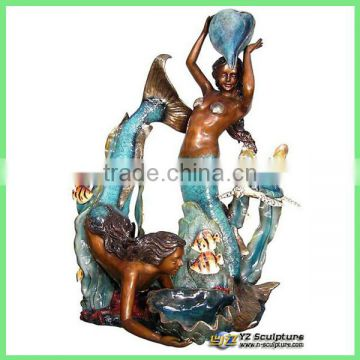 outdoor bronze mermaid water fountain for sale